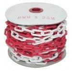 8 мм х 25 п.м. Цепь оградительная сигнальная пластиковая красно-белая