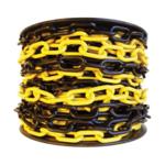 8 мм х 50 п.м. Цепь оградительная сигнальная пластиковая чёрно-жёлтая
