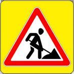 Знaк 1.25 Дорожные работы. Временные дорожные знаки на желтом фоне