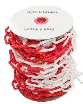10 мм х 25 п.м. Цепь оградительная сигнальная пластиковая красно-белая
