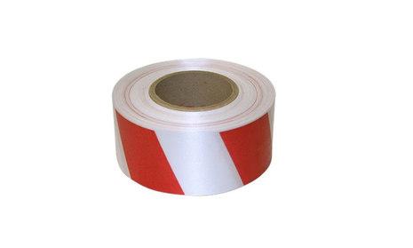 50мм х 100 п.м. Сигнальная красно-белая светоотражающая лента 50мм х 100 п.м. полипропиленовая прочная