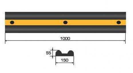 Демпфер стеновой резиновый ДСР-1. 1000х150х50мм