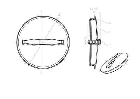 Схема крышки с дыхательным клапаном 350 мм