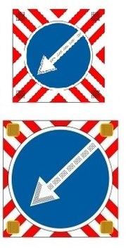 Знак светодиодный на щите с ПОВОРОТНОЙ СТРЕЛКОЙ (СИД 4.2.1, СИД 4.2.2)