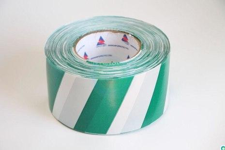 Лента оградительная бело-зелёная, 250 п.м. х 75 мм, 50 мкм