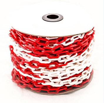 8 мм х 50 п.м. Цепь оградительная сигнальная пластиковая красно-белая