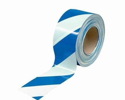 Лента оградительная бело синяя, 250 п.м. х 75 мм, 50 мкм