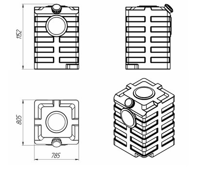 Схема универсальной емкости 600 л
