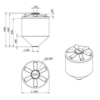 Емкость ФМ-1000 с конусным дном (полного слива)
