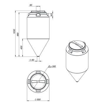 Емкость ФМ-120 с конусным дном (емкость полного слива)