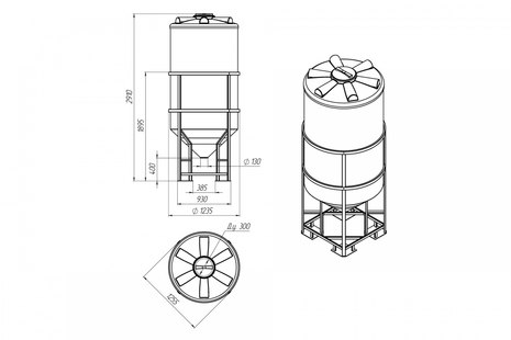 Емкость ФМ-2000 с конусным дном с обрешеткой (емкость полного слива)