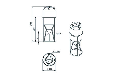 Емкость ФМ-240 с конусным дном с обрешеткой (емкость полного слива)