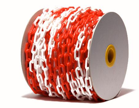 6 мм х 50 п.м. Цепь оградительная сигнальная пластиковая красно-белая