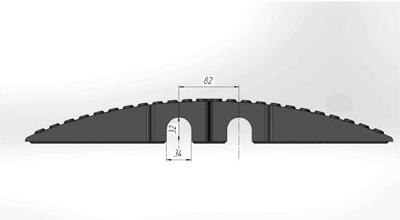 Кабель - канал, лежачий полицейский с кабель-каналом (2 желоба 32 х 34 мм). 500х500х58мм