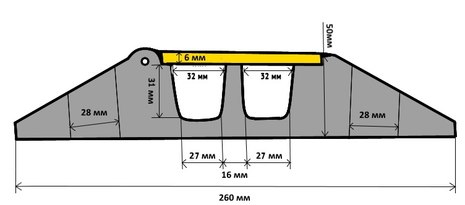 Кабель-канал (2 желоба 32*32), двужильный кабель канал. Желтая крышка / черная крышка