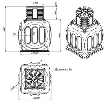 Колодец КС-5 c горловиной 780 мм и крышкой 780 мм