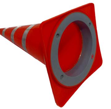 Конус дорожный сигнальный мягкий 750-М с тремя светоотражающими полосами утяжелённый