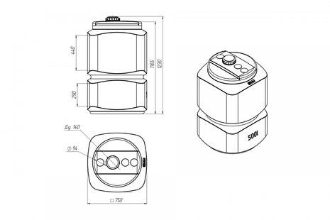 Схема топливной емкости L-500 Oil
