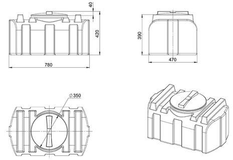 Схема емкости для жидкости R-100