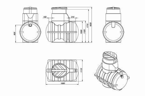 Схема емкости для топлива U-1250 OIL