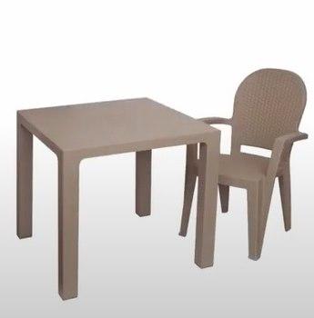 Комплект пластиковый стол и стул Ротанг