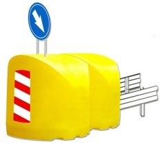 Буфер дорожный осевой 1350х1350х1350 мм с маской знака