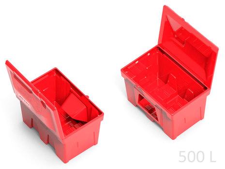 Пластиковый ящик с дозатором для песка 500 литров