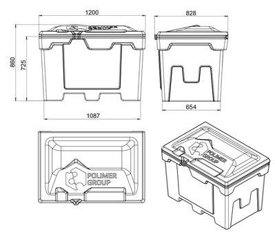 Пластиковый ящик для песка 500литров