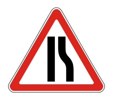 Знак 1.20.2 Сужение дороги справа